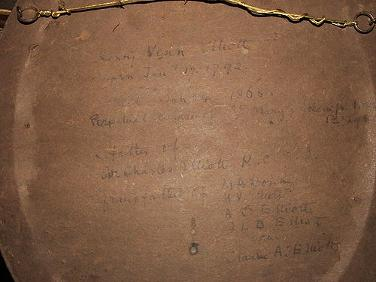 Reverse of portrait showing Venn Elliott Family Tree