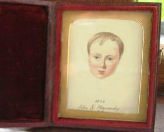 Velvet lined case and miniature portrait of John Maconchy